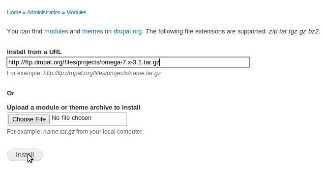 Install and update Drupal themes and modules automatically